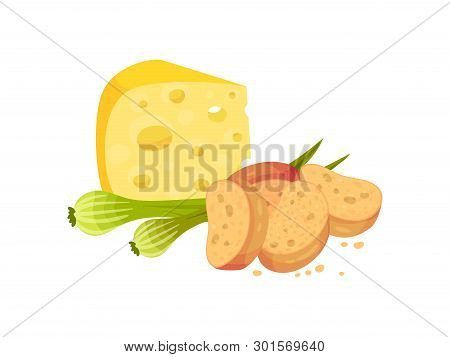 Oval Croutons With Cheese And Onions. Vector Illustration On White Background.