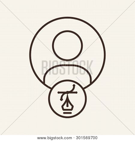Designer Line Icon. Copywriter, Writer, Author. Business Concept. Vector Illustration Can Be Used Fo