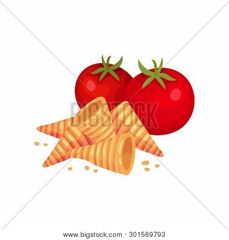 Cone-shaped Croutons With Tomato. Vector Illustration On White Background.