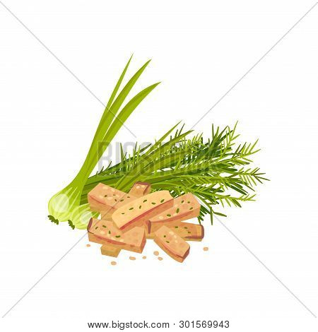 Rectangular Croutons With Greens. Vector Illustration On White Background.