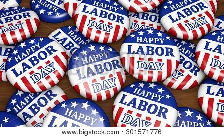 Happy Labor Day United States National Workers Holiday Concept With Sign And American Flag Colors An
