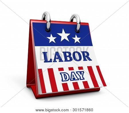 Labor Day United States National Workers Holiday Concept With Sign And American Flag Colors And Star