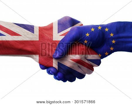 Uk And European Union Bilateral Political Relations And Cooperation Concept With Union Jack Flag And