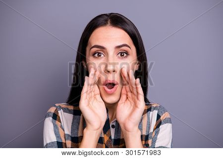 Portrait Of Nice Cute Lady Place Palms Hands Mouth Open Share Privacy Advert Announcement Scream Sho