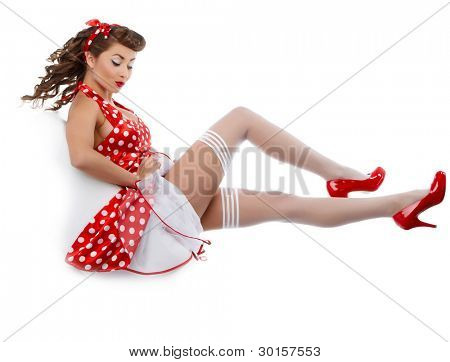 young beautiful caucasian woman posing, isolated over white, retro styling poster