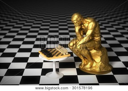 Gold Sculpture Thinker Pondering The Chess Game. 3d Illustration.