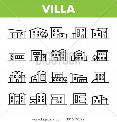 Luxurious Villa, Cottage Linear Vector Icons Set. Fashionable House, Villa Thin Line Contour Symbols