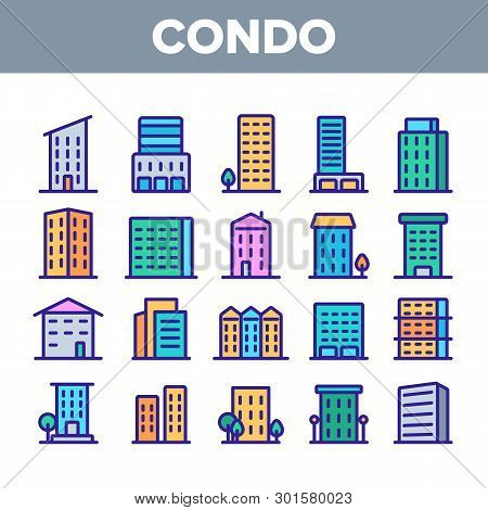 Dwelling House, Condo Linear Vector Icons Set. Condo, Apartment Buildings Thin Line Contour Symbols