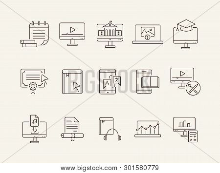 Online Learning Line Icon Set. Course, Lection, Educational Video. Tutorial Concept. Can Be Used For