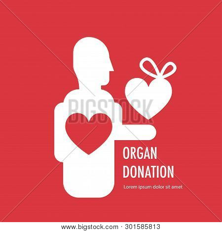 Donate Organ Banner On Red Background. Man Give Heart. Vector Illustration