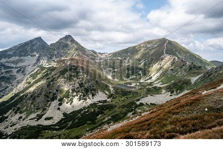 Volovec, Ostry Rohac And Placlive Mountain Peaks With Dolne Jamnicke Pleso Lake On Rohace Mountain G