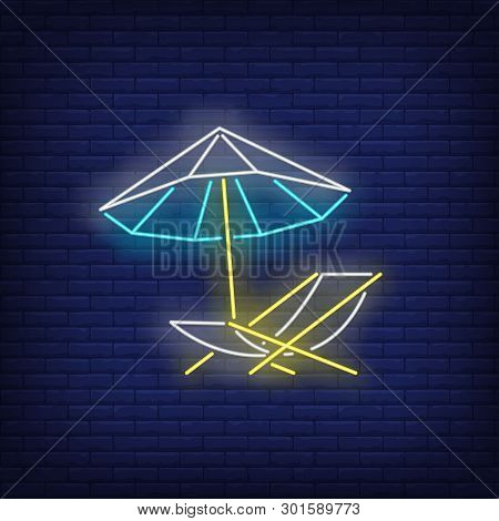 Beach Umbrella And Chaise Longue Neon Sign. Summer, Holiday, Vacation, Resort Design. Night Bright N