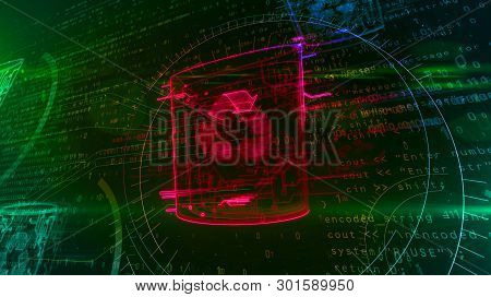Computer Trash Symbol On Dynamic Digital Background. Glowing Digital Data Delete Icon Abstract 3d Il