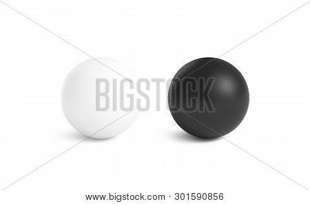 Blank Black And White Stress Ball Mockup,front View Isolated, 3d Rendering. Clear Empty Stres Reliev