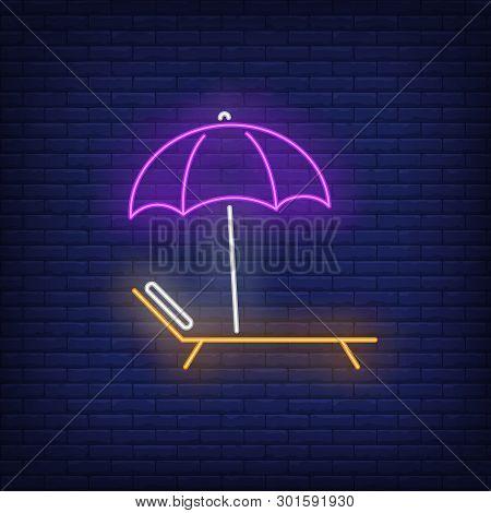 Bright Beach Umbrella And Chaise Longue Neon Sign. Summer, Holiday, Vacation, Resort Design. Night B