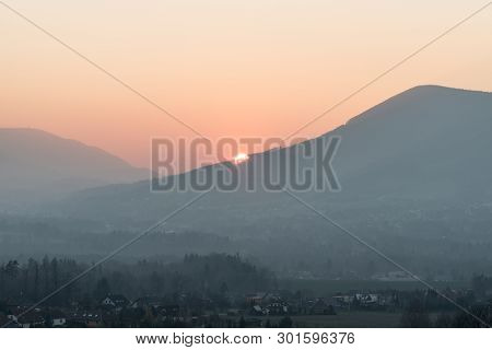 Sunset With Colorful Sky From Borova Hill In Malenovice Village Bellow Lysa Hora Hill In Moravskosle