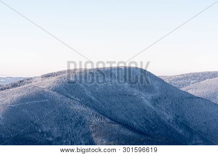 Knehyne Hill From Lysa Hora Hill In Moravskoslezske Beskydy Mountains In Czech Republic During Freez