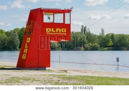 Langenhagen, Germany - May 15, 2019: Lifeguard Station Or Tower By Dlrg, Which Translates As German