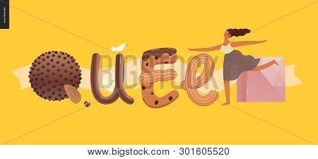 Dessert Lettering - Queen - Modern Flat Vector Concept Digital Illustration Of Temptation Font, Swee