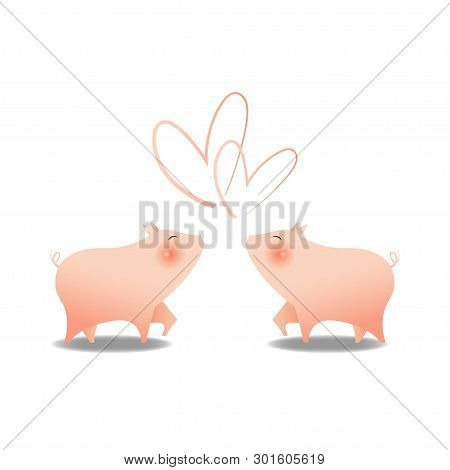 Two Little Cute Pigs Smile With Big Pink Cheek Facing Each Other With Heart Shape Upper For Love Emo