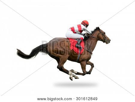 Race horse with jockey on the home straight, isolated on white