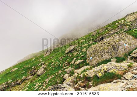 Hiking Uphill In The Fog. Huge Rocks On A Grassy Slope. Spooky Nature Scenery. Moody Weather Conditi