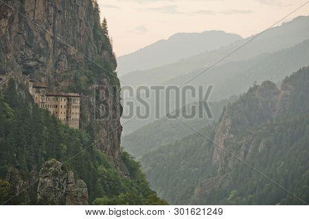 Sumela Monastery At Trabzon Turkey. Horizontal Landscaped Photo