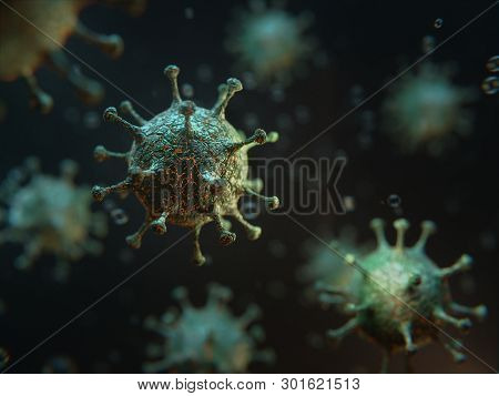 3d Render, Illustration. Virus, Bacteria, Cell Infected Organism, Medical Concept Of Infect Organism