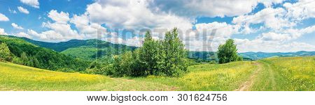 Beautiful Summer Countryside In Mountains. Wonderful Panoramic Scenery On A Sunny Day. Country Road
