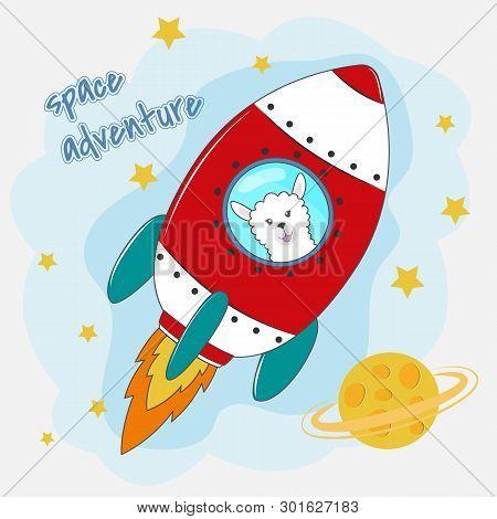 Cute Funny Llama Astronaut Flying On A Rocket.