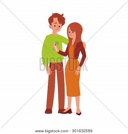 Unhappy Infertile Couple With A Pregnancy Test Flat Vector Isolated On White.