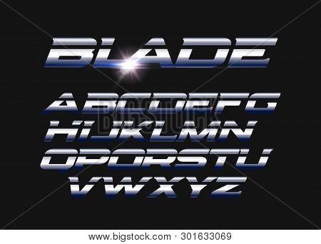 Blade Vector Letters Set. Slashed Alphabet With Sleek Steel Texture. Sleek Metal Style Vector Latin