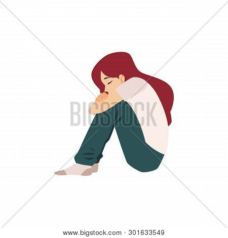 Lonely Woman Sits On The Floor Suffering From Depression Or Relationship Break.