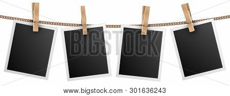 Retro Photo Frames Hanging On Rope Isolated On White Background Vector Illustration. Photo Picture F