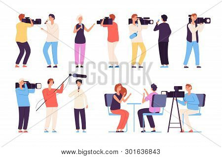 Journalists. Broadcaster News Journalists Broadcasting Camera Crew Cameraman Tv Studio Interview Iso