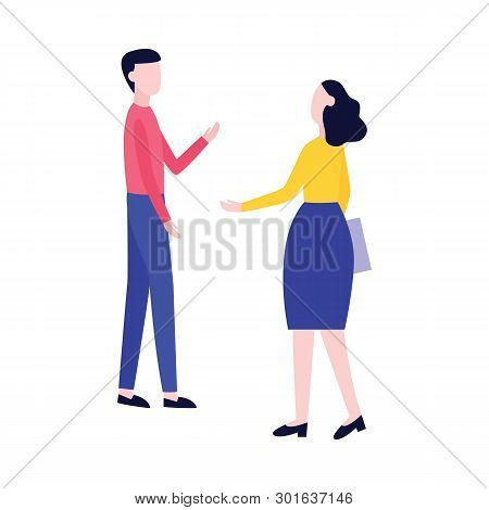 Male And Female Stand And Talk Gesticulating Flat Cartoon Style