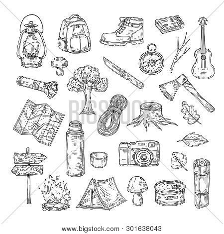 Doodle Camping. Hiking Camp Natural Wood Scout Outdoor Summer Adventure Sketch Outline Vector Icons.