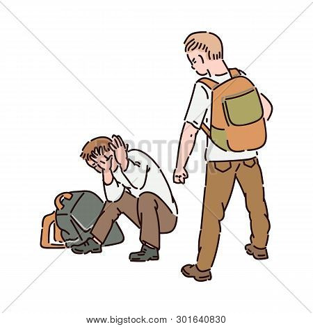 Aggressive Boy Hooligan With A Backpack Offends Another Boy Locking Himself With His Hands.