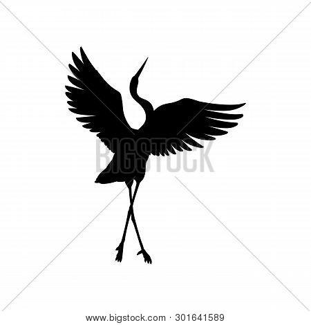 Silhouette Or Black Ink Symbol Of A Crane Bird Or Heron Dancing Vector Icon.
