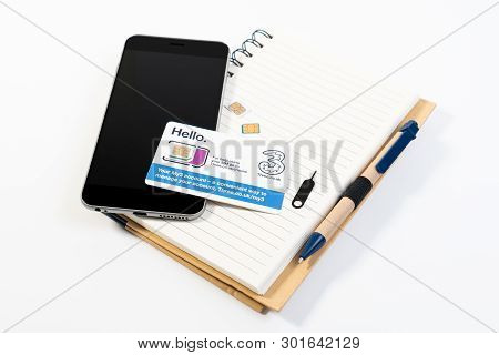 London, England - 16 October 2018: 3 Three Nano Sim And Micro Sim For Smart Phone Or Mobile Phone An