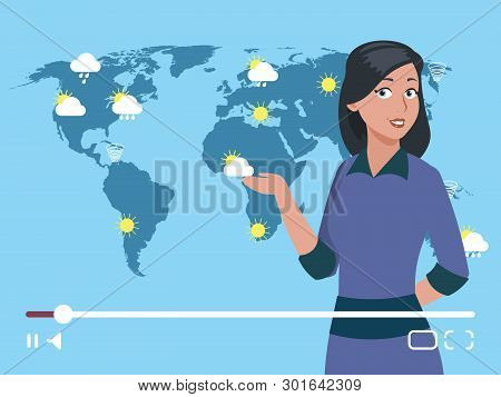 Woman Anchorman Weather Channel Vector Illustration. Worldwide Weather Forecast Concept. Weather For