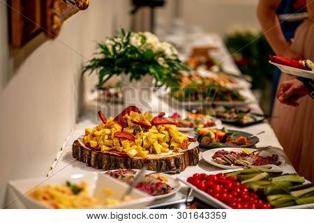 Cheese, Vegetables, Meat And Other Snacks On The Festive Table In The Restaurant. Cheese Snacks, Veg
