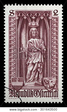ZAGREB, CROATIA - JULY 02, 2014: A stamp printed in the Austrian, is dedicated to 500th anniversary of Diocese of Vienna, shows the statue of St. Paul in St. Stephens Cathedral, Vienna, circa 1969.