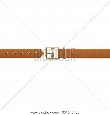 Brown Belt Or Waistband Realistic Vector Illustration Isolated On Background.