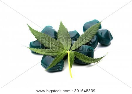 CBD and THC Candy. Recreational THC Candies. Isolated on white. Room for text. Medical CBD Candy.