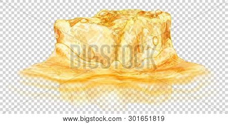 One Big Realistic Translucent Ice Cube In Yellow Color Half Submerged In Water. Isolated On Transpar