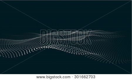 A Wave Of Particles. Futuristic Point Wave. Vector Illustration. Abstract Blue Background With A Dyn