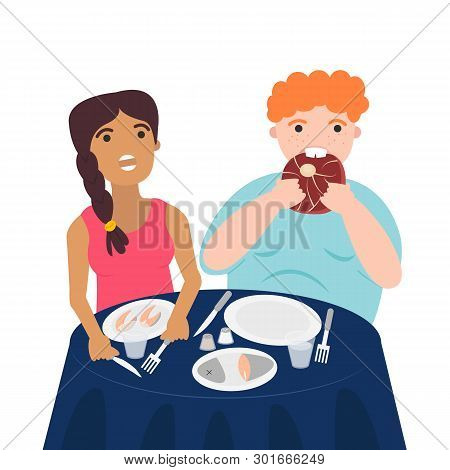 Vector Illustration Of Couple Are Eating Their Meals. Healthy Nutrition Concept Of Carnivore Diet. W
