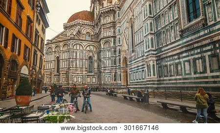 Florence, Italy - November 8th: Florence Cathedral Is A Huge Church Building On Piazza Del Duomo In