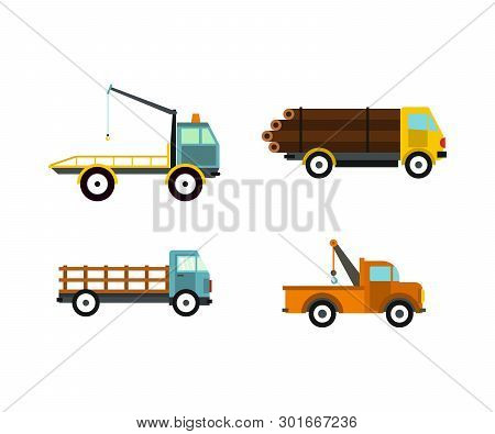 Wrecker Icon Set. Flat Set Of Wrecker Icons For Web Design Isolated On White Background